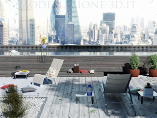Piscina con vista su skyline Alessandro Chessa Piscina moderna
