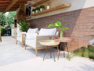 Studio MP Interiores بلكونة أو شرفة خشب نقي Wood effect