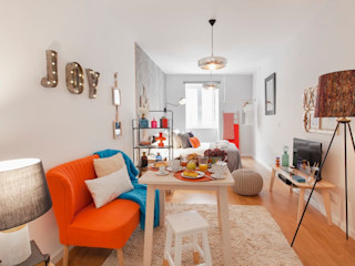 Rafaela Fraga Brás Design de Interiores & Homestyling Phòng khách phong cách Bắc Âu Orange