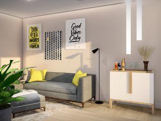 Studio MP Interiores غرفة المعيشة طوب Beige