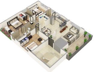 Photorealistic 3D Floor Plan Renderings Services JMSD Consultant - 3D Architectural Visualization Studio BathroomDecoration Tiles White