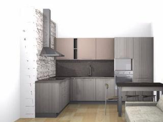 Progettazione foto realistici/render L&M design di Marelli Cinzia Cucina piccola Legno Grigio