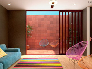 Laboratorio Mexicano de Arquitectura Nowoczesny balkon, taras i weranda Cegły Czerwony
