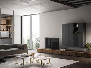 Zona giorno, il ritorno del living. L&M design di Marelli Cinzia Sala da pranzo moderna Legno composito Effetto legno