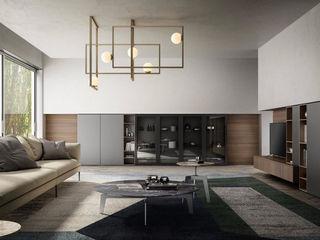 Zona giorno, il ritorno del living. L&M design di Marelli Cinzia Sala da pranzo moderna Vetro Grigio