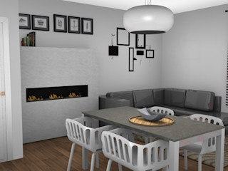 Appartamento a Milano L&M design di Marelli Cinzia Soggiorno moderno MDF Grigio