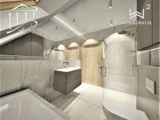 Wkwadrat Architekt Wnętrz Toruń Minimalist bathroom Stone Brown