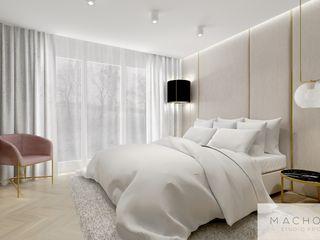 Machowska Studio Projektowe Modern style bedroom Silver/Gold Beige