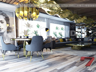 7WD Design Studio Salas de estar modernas Ambar/dourado