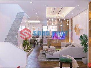 Thiết kế và thi công nội thất nhà phố 2 tầng 5x20m tại Bình Dương Công ty TNHH TK XD Song Phát Phòng khách phong cách châu Á