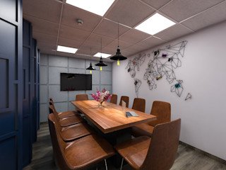 Grey-Woods Office spaces & stores Engineered Wood White
