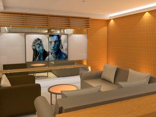 Elaine Hormann Architecture Salas de estar modernas Derivados de madeira Acabamento em madeira