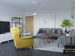 Salón estilo escandinavo Glancing EYE - Asesoramiento y decoración en diseños 3D Salones escandinavos