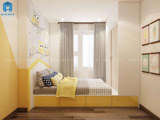 THIẾT KẾ NỘI THẤT CĂN HỘ CHUNG CƯ HÀ ĐÔ CENTROSA GARDEN 77M2 CÓ 2 PHÒNG NGỦ - ANH HẢI, QUẬN 10 Công ty Cổ Phần Nội Thất Mạnh Hệ Phòng ngủ phong cách hiện đại Than củi Yellow