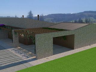 Diseño de una vivienda Unifamiliar de nueva construcción en Cabueñes, Gijón (Proyecto en construcción) arQmonia estudio, Arquitectos de interior, Asturias Casas de estilo mediterráneo Piedra