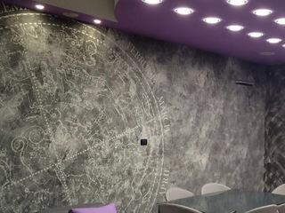 Carta da parati, nostre realizzazioni. L&M design di Marelli Cinzia Sala da pranzo moderna Cemento Grigio