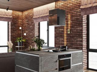 Брутальный эко-урбанизм «Студия 3.14» Гостиная в стиле лофт
