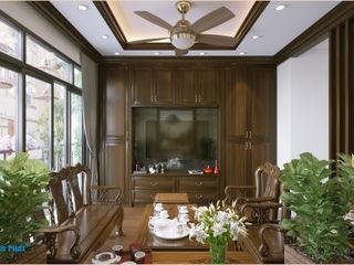 Dự án thiết kế nội thất nhà phố cao cấp với gỗ tự nhiên Công ty TNHH TK XD Song Phát Living roomSofas & armchairs Gỗ thiết kế Grey