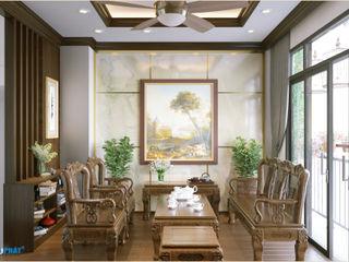 Dự án thiết kế nội thất nhà phố cao cấp với gỗ tự nhiên Công ty TNHH TK XD Song Phát Living roomSofas & armchairs Gỗ Grey