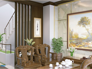 Dự án thiết kế nội thất nhà phố cao cấp với gỗ tự nhiên Công ty TNHH TK XD Song Phát Living roomStools & chairs Gỗ thiết kế Grey