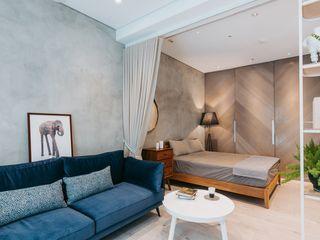 小空間的低預算整理術,巧妙的隔間簾示範|遮光布簾.捲簾 MSBT 幔室布緹 臥室 強化水泥 Grey