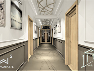 Wkwadrat Architekt Wnętrz Toruń Classic style corridor, hallway and stairs Marble Brown