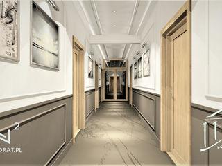Wkwadrat Architekt Wnętrz Toruń Classic style corridor, hallway and stairs MDF Brown