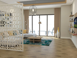 Kalya İç Mimarlık \ Kalya Interıor Desıgn Salas de estar modernas Madeira Acabamento em madeira