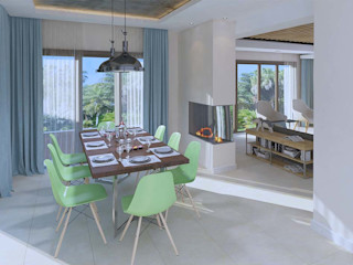 Kalya İç Mimarlık \ Kalya Interıor Desıgn Salas de jantar modernas Madeira Acabamento em madeira