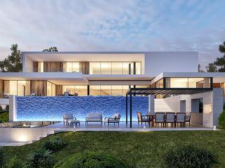 CASA CC1- Moradia na Quinta do Peru - Projeto de Arquitetura Traçado Regulador. Lda Habitações multifamiliares Madeira Branco