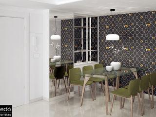 Diseño de interior de vivienda de vacaciones frente al mar Tono Lledó Estudio de Interiorismo en Alicante Comedores de estilo moderno Verde