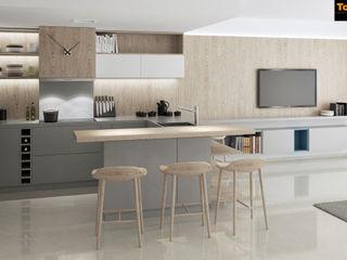 Diseño de interior de vivienda de vacaciones frente al mar Tono Lledó Estudio de Interiorismo en Alicante Cocinas integrales Madera Acabado en madera