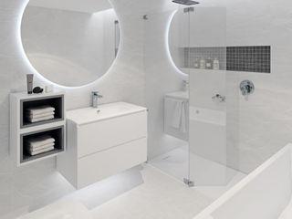 Diseño de interior de vivienda de vacaciones frente al mar Tono Lledó Estudio de Interiorismo en Alicante Baños de estilo minimalista Mármol Blanco