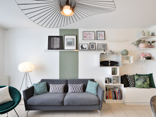 Décoration d'un appartement à Lyon Tiffany FAYOLLE Salon moderne MDF Vert