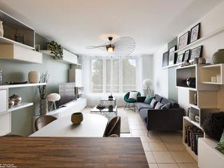 Décoration d'un appartement à Lyon Tiffany FAYOLLE Salon moderne Vert