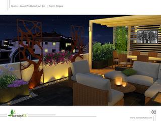 M.Ü KONUTU TERAS Peyzaj Projelendirme & Landscaping Project konseptDE Peyzaj Fidancılık Tic. Ltd. Şti. Modern Balkon, Veranda & Teras