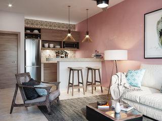 I&O GROUP Вбудовані кухні Бетон Рожевий
