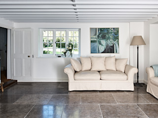 Watermill Restoration Hart Design and Construction Minimalist living room