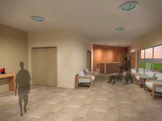 Fávero Arquitetura + Interiores Modern corridor, hallway & stairs