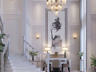 Entryway with Stylish Interiors IONS DESIGN Classic corridor, hallway & stairs Marble White
