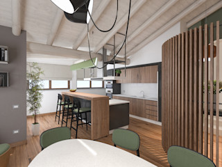 Progetto mansarda a Mantova studiosagitair Cucina moderna