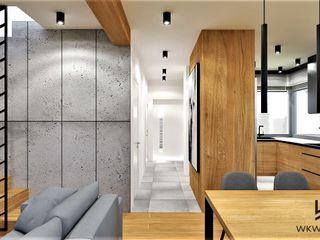 Wkwadrat Architekt Wnętrz Toruń Industrial style living room Wood Grey