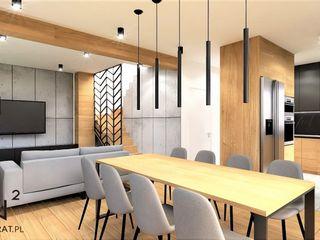 Wkwadrat Architekt Wnętrz Toruń Modern dining room Wood Grey