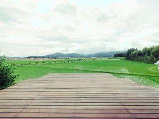 Mimasis Design/ミメイシス デザイン Hiên, sân thượng phong cách tối giản Gỗ Wood effect