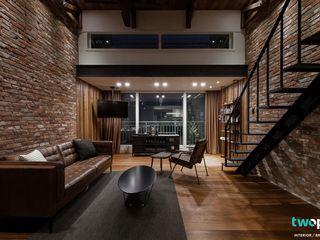 전주인테리어 우미린 탑층 아파트인테리어 , 인더스트리얼 디자인투플라이 인더스트리얼 거실