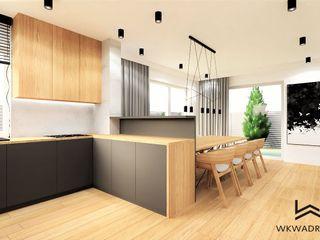 Wkwadrat Architekt Wnętrz Toruń Built-in kitchens Wood Grey