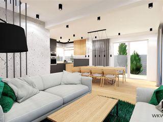 Wkwadrat Architekt Wnętrz Toruń Minimalist living room Concrete Grey