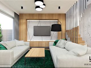 Wkwadrat Architekt Wnętrz Toruń Modern living room Concrete Green