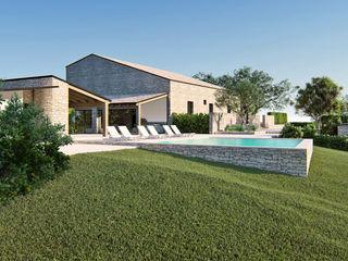 Casale NC DFG Architetti Associati Balcone, Veranda & Terrazza in stile rurale