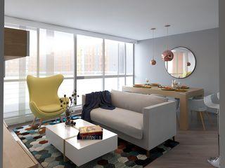 Moss arquitectura y mobiliario SAS Modern Living Room Wood Multicolored